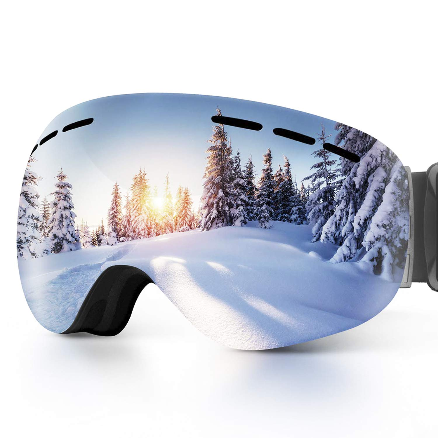 OBOSOE Ski Snowboard Snow Goggles, Interchangeable Lens 100% UV400 Protection Snow Goggles Adult Men,Women,Youth,Boys-Anti-Fog Wide Spherical Safety Goggles by OBOSOE
