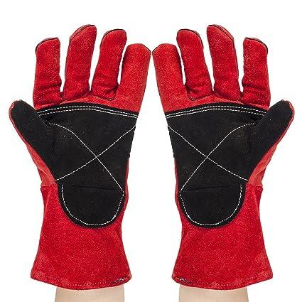 Eagles (TM) Premium piel de vacuno resistente al calor guantes, largo 14 Inch