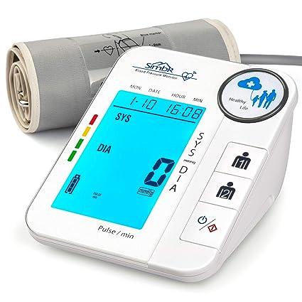 SIMBR Tensiómetro de Brazo Digital con Detección de Arrítmia Monitor de Tension Arterial con Memoria (2×128) y Gran Pantalla LED Certificada por CE ...