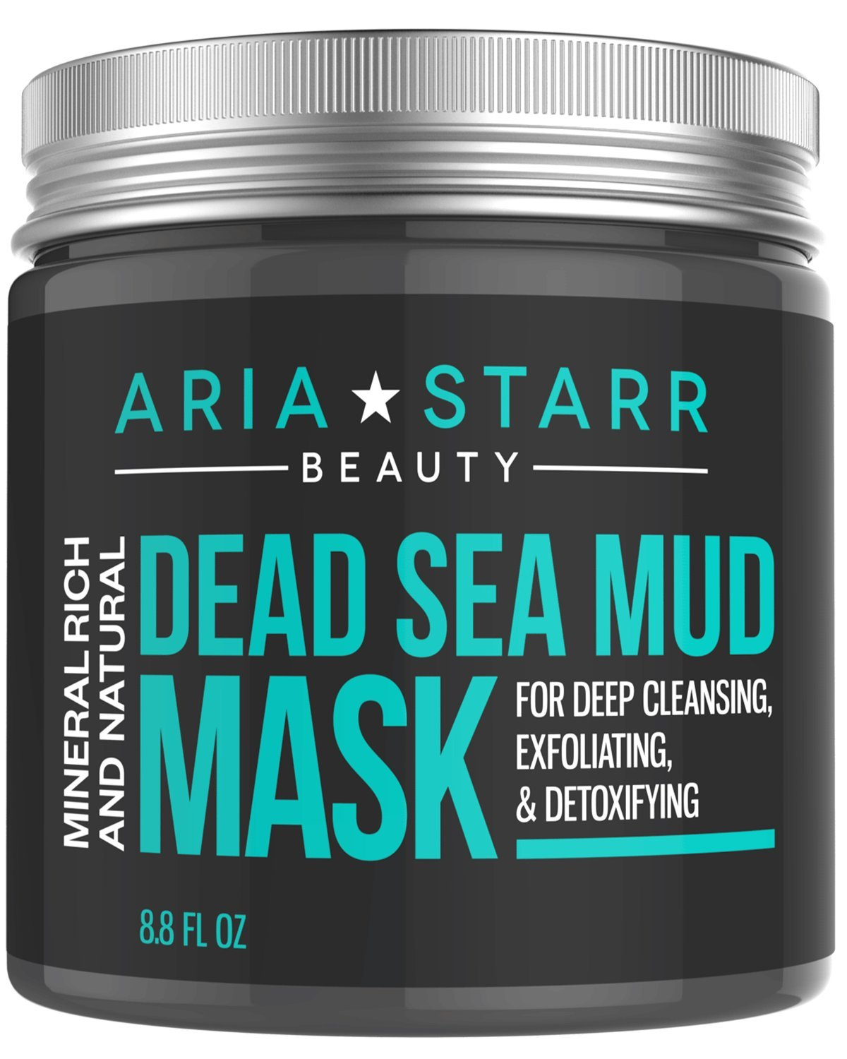 Aria Starr Dead Sea Mud Mask For Face, Acne, Oily Skin & Blackheads - Best Facial Pore Minimizer, Reducer & Pores Cleanser Treatment - Natural For Younger Looking Skin by Aria Starr Beauty