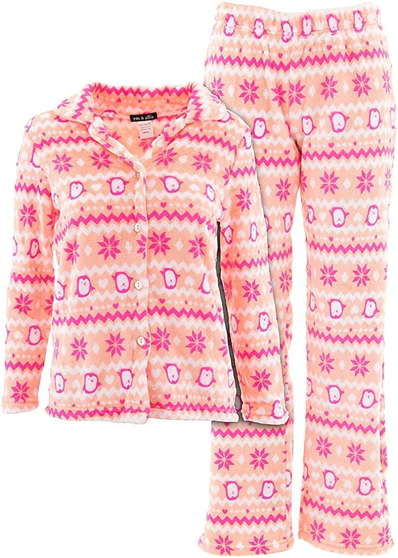 em /& alfie Womens Plus Size Plush Novelty Pattern Pajama Pants