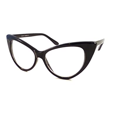 vintage women sexy cat eye oversized frame clear lens eye glasses black