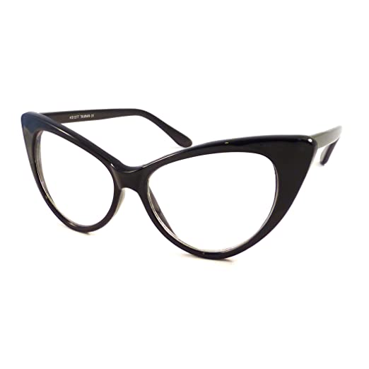 5ce46ec7be7a Image Unavailable. Image not available for. Color  VINTAGE Women Sexy Cat  Eye Oversized Frame Clear Lens Eye Glasses BLACK