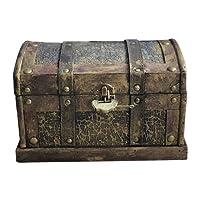 Toyvian 25cm Scrigno del tesoro dei pirati con serratura - Scatola di immagazzinamento gioielli in legno vintage