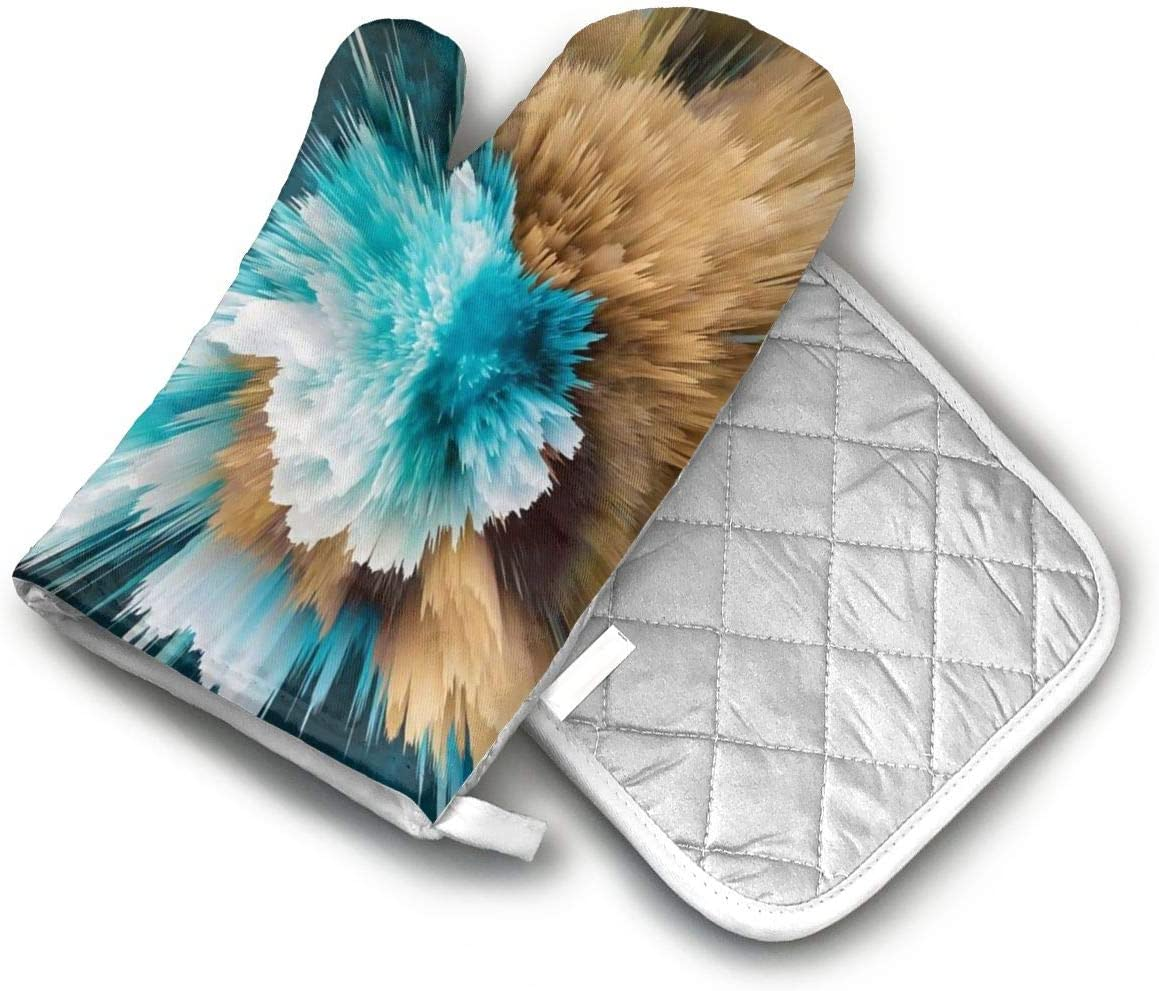 TEDISMC Oven Mitts and Potholder Powder Explosion Blue Color Heat Resistant Oven Gloves Non-Slip Oven Pad for Cooking