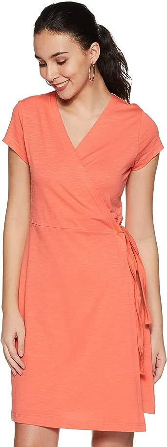 Amazon Brand - Symbol Cotton wrap Dress