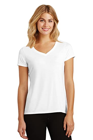 Image Unavailable. Image not available for. Color  Clementine Womens  Perfect Tri V-Neck Tee DM1350L -White L 3d670707d