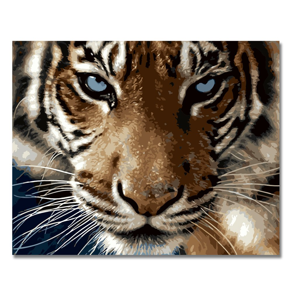 LIUDAO Paint by Number Kit for Adults - 16x20 Inches Wooden Frame (Tiger)