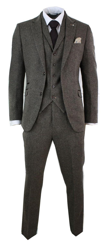 Cavani Mens Brown Herringbone Tweed Wool Mix Black 3 Piece Vintage Retro Suit Slim Fit