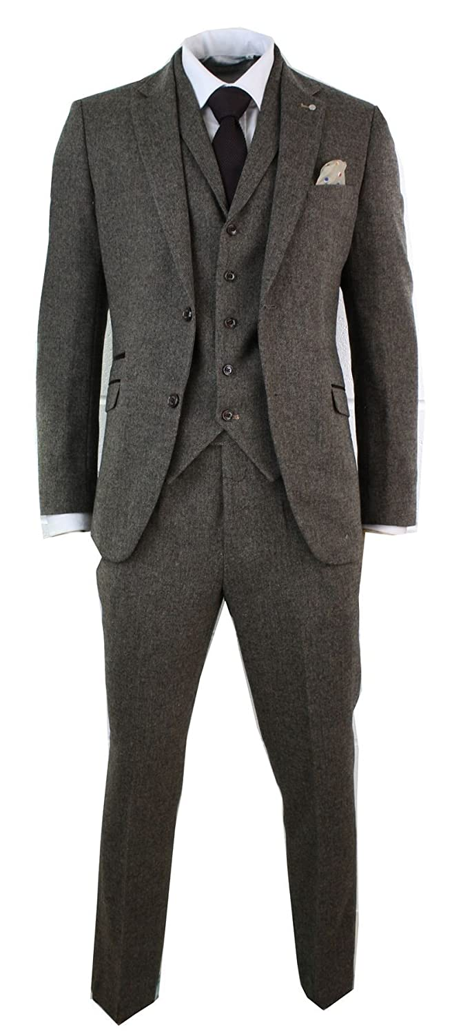 1900s Edwardian Men's Suits and Coats Cavani Mens Brown Herringbone Tweed Wool Mix Black 3 Piece Vintage Retro Suit Slim Fit £104.99 AT vintagedancer.com