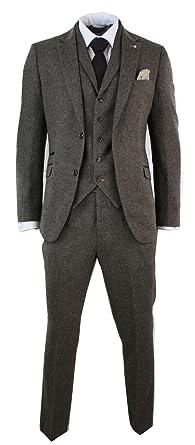 803aaedc672b Cavani Mens 3 Piece Wool Blend Herringbone Tweed Suit Blue Brown Vintage  Tailored Fit