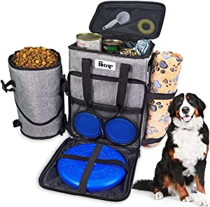 Dog Travel Bag, Travel Dog Bag Organizer, Airplane Approved Pet Carrier Backpack, Pet Travel Tote with 1 Dog Treat Pouch, 2 Collapsible Dog Bowls, 1 Pet Blanket and 1 Dog Frisbee