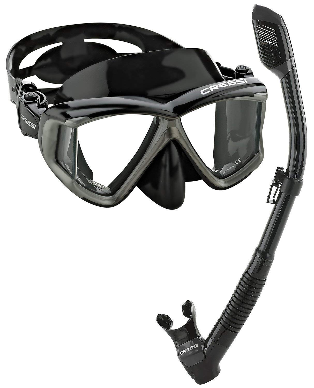 Cressi Panoramic Wide View Mask Dry Snorkel Set (Black Silver, Pano 4)