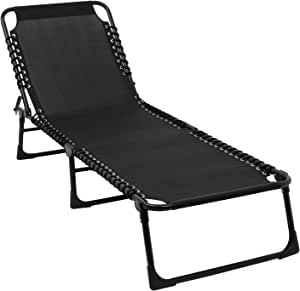 VINGLI Upgraded 4 Position Patio Folding Lounge Chair, 440 LBS Weight Limit Chaise Lounge Chair with Ergonomic Design for Outdoor & Indoor, Reclining Lawn Chair for Lawn, Balcony, Pool, Courtyard