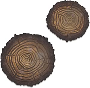 Sizzix Bigz Die With Texture Fades Embossing Folder Tree Rings Mini by Tim Holtz, Multicolor