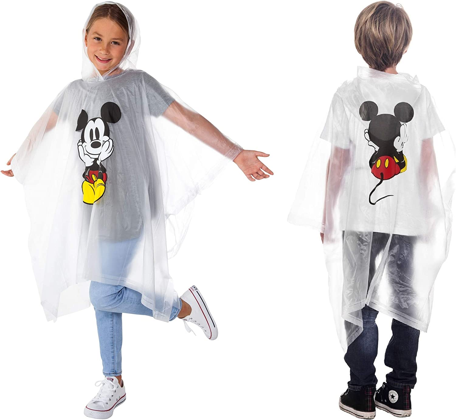 B00W0H1M0S Disney Mickey Mouse Rain Poncho Hoodie Front Back Print Youth 71l2IogY6yL