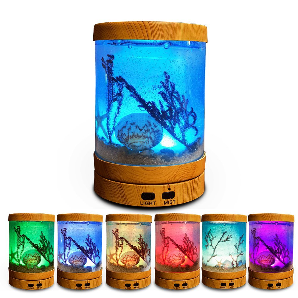 Aigoceer Essential Oil Diffuser, Ocean Theme Diffusers for Essential Oils Ultrasonic Aromatherapy Diffuser Cool Mist humidifier, Waterless Auto Shut-off and 7 Color LED Lights Changing for Home Office JSQ-18002-1