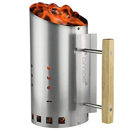 AMOS Encendedor de Carbón Fácil de Verter Chimenea de Encendido de Acero Galvanizado para Barbacoa BBQ