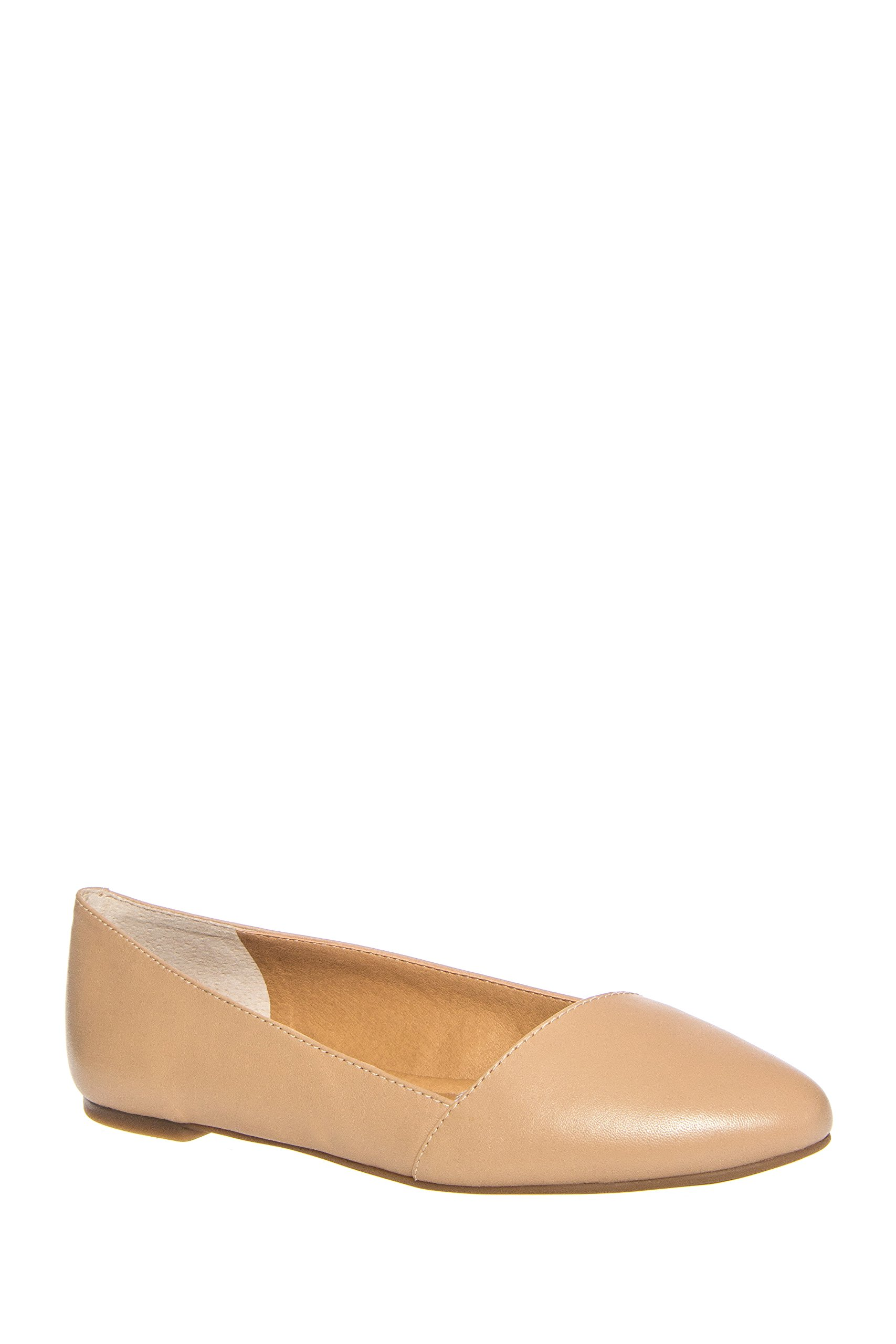 Lucky Brand Women's Archh Flat,Nude Leather,US 7 M