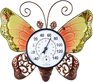 Thermometer Indoor Outdoor Patio Weather Thermometer Wireless Wall Round Butterfly No Battery Required Hanging Decor Hygrometer