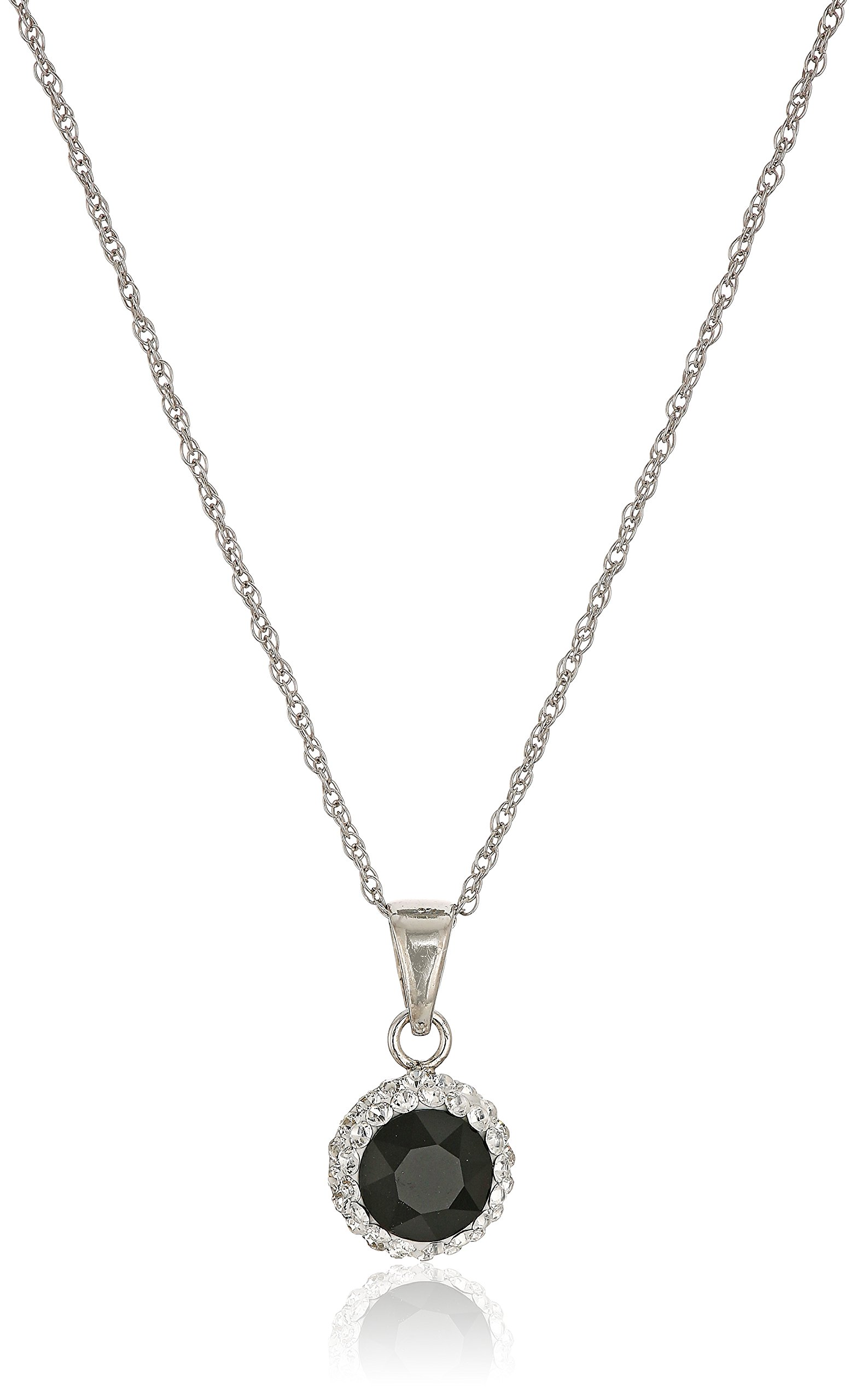 Sterling Silver Swarovski Crystal Halo Pendant Necklace, Black, 18''
