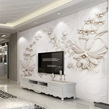 3d Wall Murals White European Style Orchid Flowers For Home