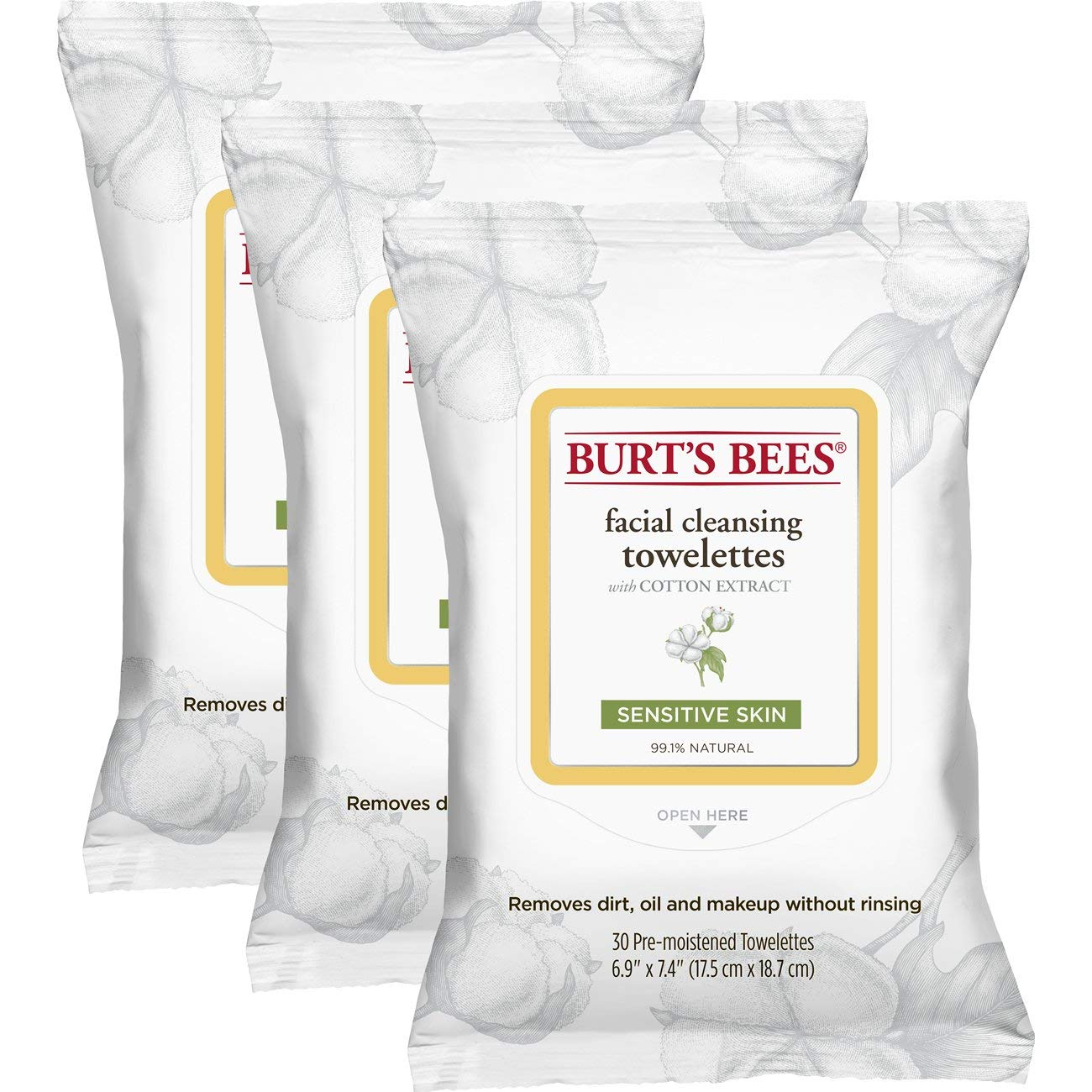 Burt's Bees Sensitive Facial Cleansing Towelettes with Cotton Extract for Sensitive Skin  - 30 Count (Pack of 3) by Burt's Bees