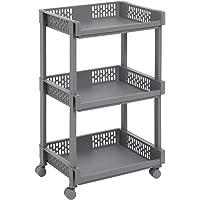 SONGMICS Kunststof trolley, all-purpose trolley met wielen voor keuken, kantoor, badkamer, grijs met 3 planken, 61 cm hoog KSC03GY