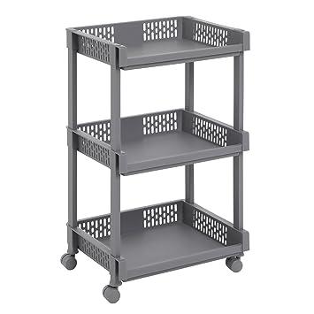 SONGMICS Rollwagen aus Kunststoff, Allzweckwagen mit Rollen für Küche,  Büro, Bad, Grau mit 3 Etagen, 61 cm hoch KSC03GY