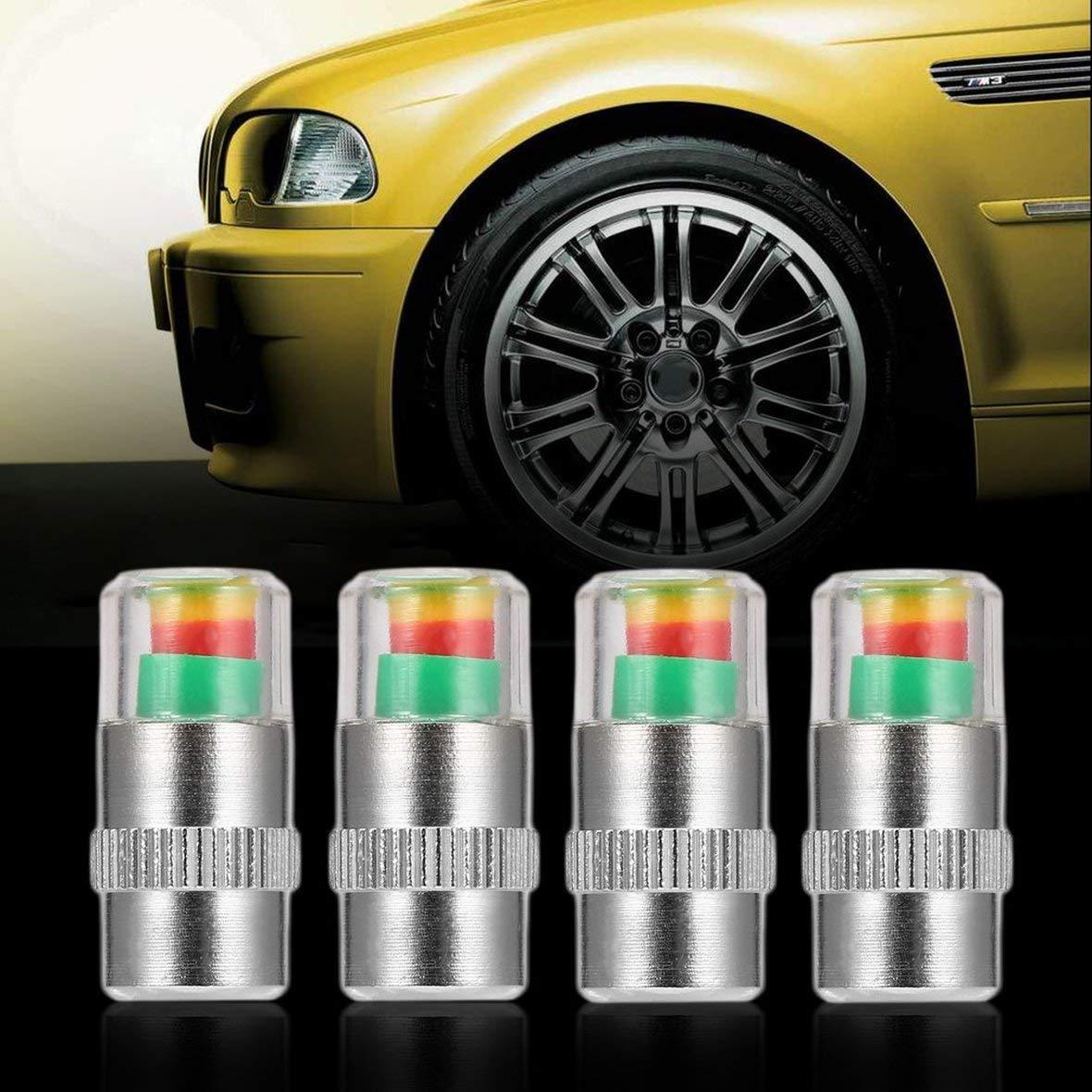 Tivolii 2.4PSI Car Auto Tire Pressure Monitor Valve Stem Caps Sensor Indicator 4PCS Eye Alert Diagnostic Tools Kit