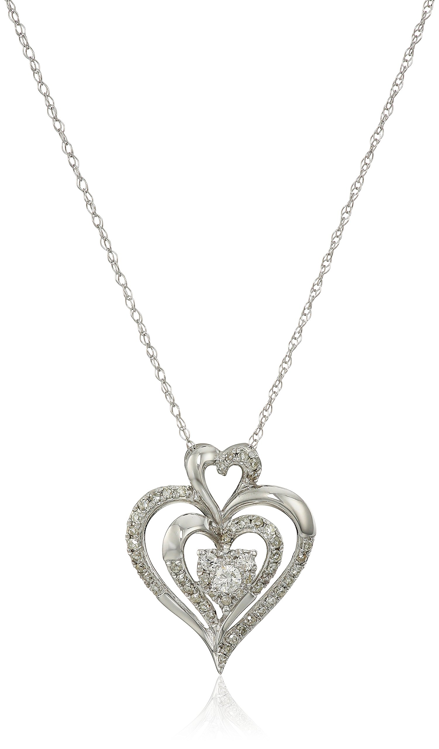 10k White Gold Diamond Heart Pendant Necklace (1/4 cttw, I-J Color, I2-I3 Clarity), 18''