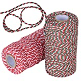 182m Weihnachten Schnur Baumwolle (ca. 1,5mm dick) Bastelschnur Garten Gartenschnur Baumwollschnur Baumwollfaden Bindfaden Faden Dekokordel zum Geschenkeverpacken Basteln