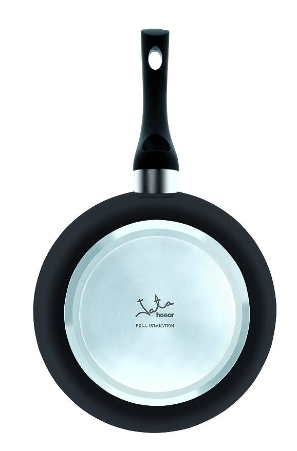 Jata Hogar Sartén Full Induction, Recubrimiento Antiadherente Xylan Plus de Whitford Libre de PFOA, Aluminio, Negro, 22 cm