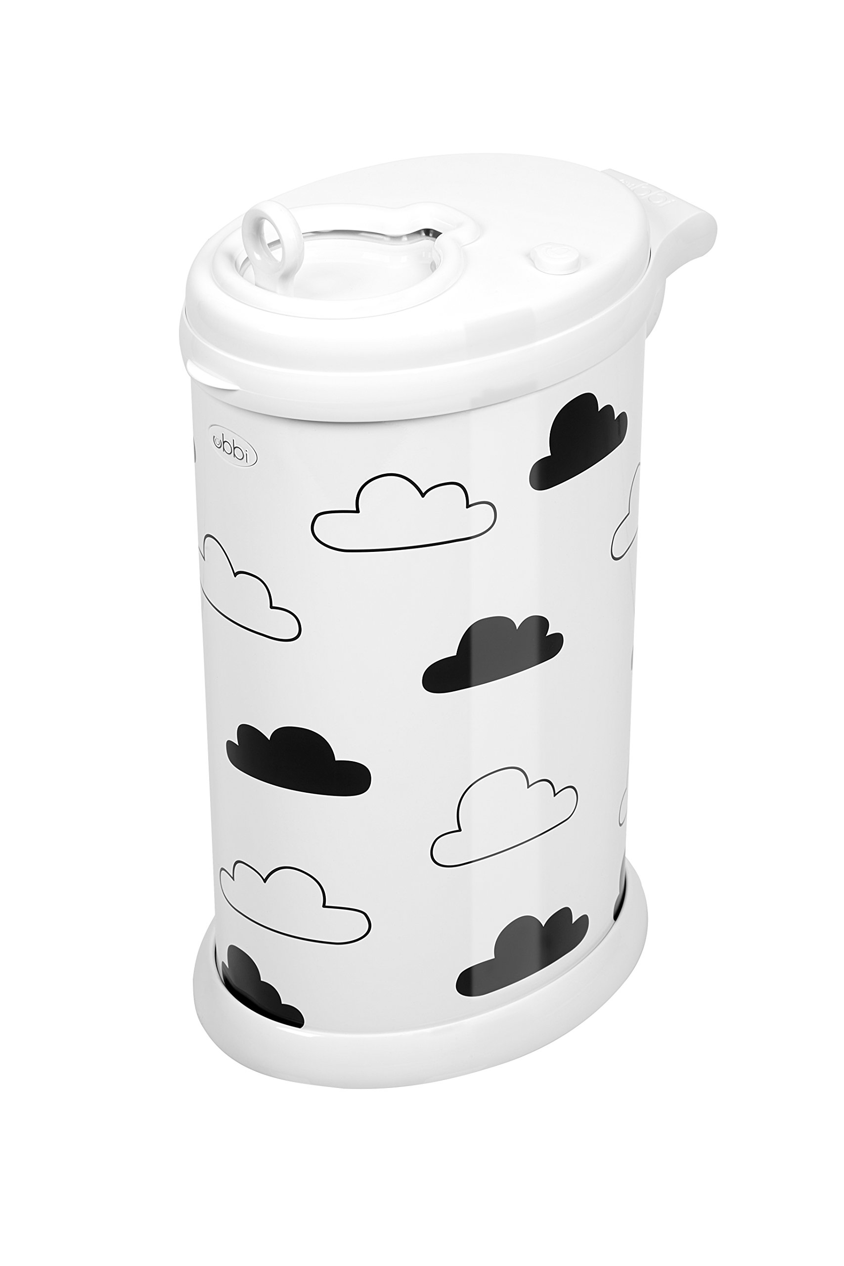 Ubbi Money Saving, No Special Bag Required, Steel Odor Locking Diaper Pail, White Clouds