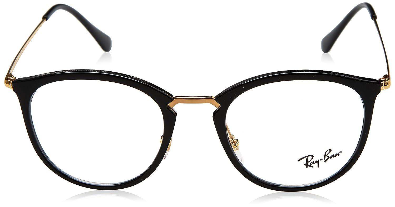 560f506eaf3 Amazon.com  Ray-Ban 0rx7140 No Polarization Square Prescription Eyewear  Frame Shiny Black 51 mm  Clothing