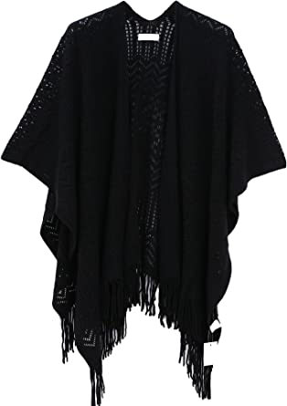 Knit Shawl Wrap for Women Soul Young Ladies Fringe Knitted Poncho Cardigan Cape