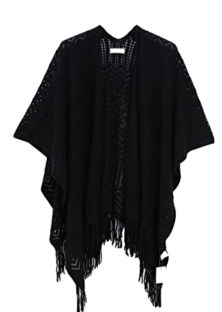 0d18bd87f954b Knit Shawl Wrap for Women - Soul Young Ladies Fringe Knitted Poncho Blanket  Cardigan Cape(