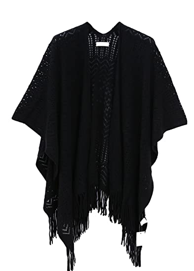 c3f2500be05 Knit Shawl Wrap for Women - Soul Young Ladies Fringe Knitted Poncho  Cardigan Cape