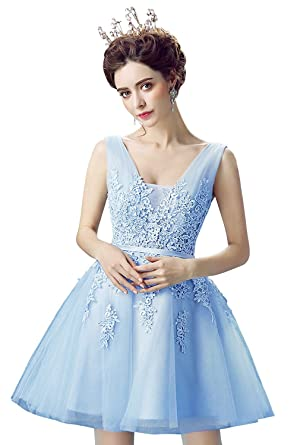 HotGirls Lace Tulle Prom Dresses Short V Neck Bridesmaid Homecoming Gown (UK6, Blue)