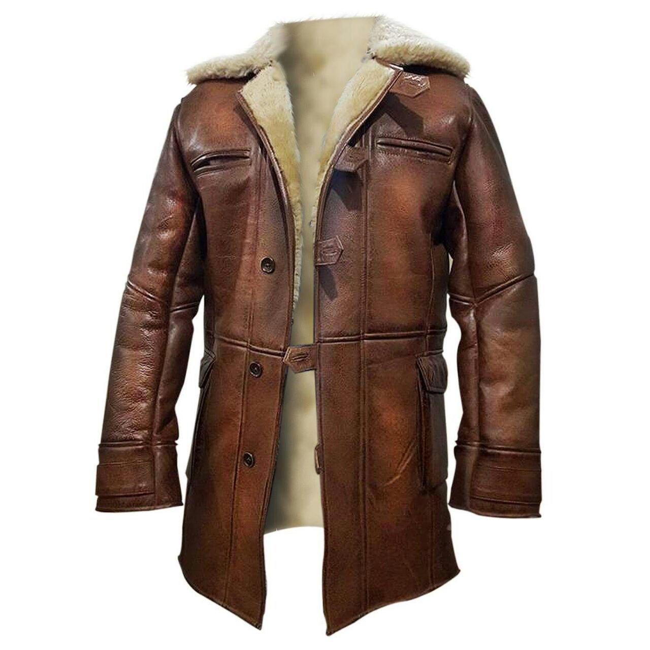 NM Fashions Tom Hardy Bane Dark Knight Lambskin Shearling Genuine Leather Pea Coat (Large, 100% Hi-Quality Synthetic Leather with Off-White Fur Lining)