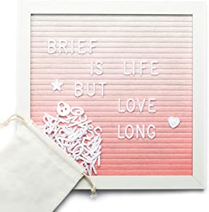 """ARTALL 10"""" x 10"""" Felt Letter Board,Changeable Letter Board with Wooden Frame,Message Board with 340 White Plastic Letters,Pink Shade"""