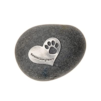 Quotable Cuffs Pet Memorial Forever in My Heart Paw Print Stone