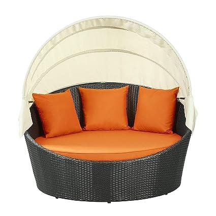 Amazon Com Modway Siesta Outdoor Wicker Patio Espresso Canopy Bed With Orange Patio Sofas Garden Outdoor