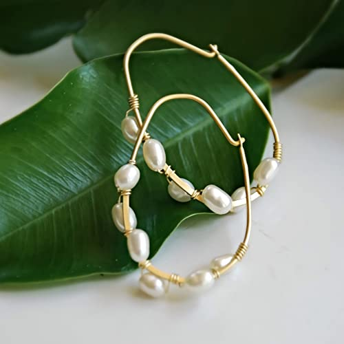 Small Gold Vermeil Cultured White Freshwater Pearl Hoop Earrings Anniversary Gift for her Under 35 Dollars Wedding Bridal Bridesmaids Jewelry