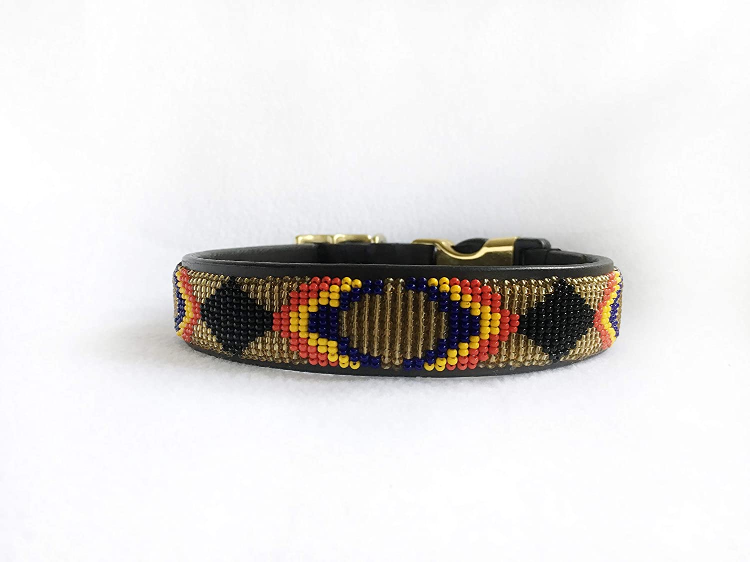 yellow Black Afar Beaded Style-Release Dog Collar red gold