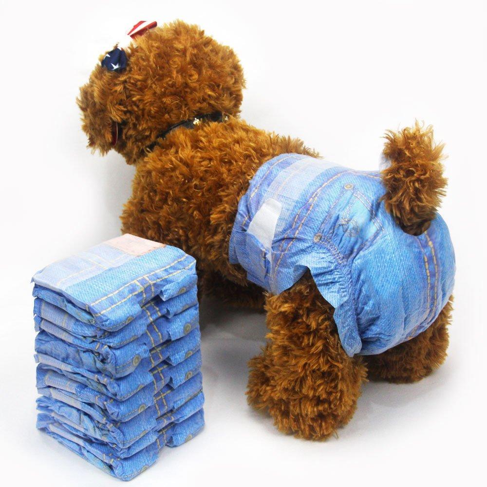 Haustier weich Weiblich Windeln supersaugf/ähig Denim Jeans Haustier Einwegwindel Cowboystil Welpen Hundewindeln 3 Taschen 24 St/ück