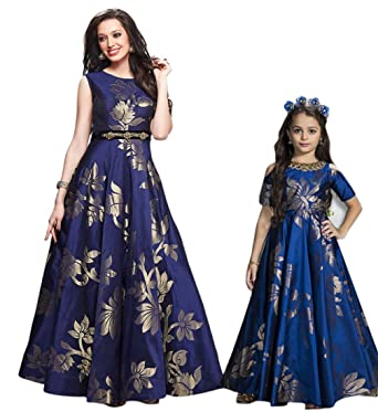 82b65252a509 Fashion Matching Mother Daughter Clothes Dress Family Look Gown Casual  Summer Solid Blue (Mother(