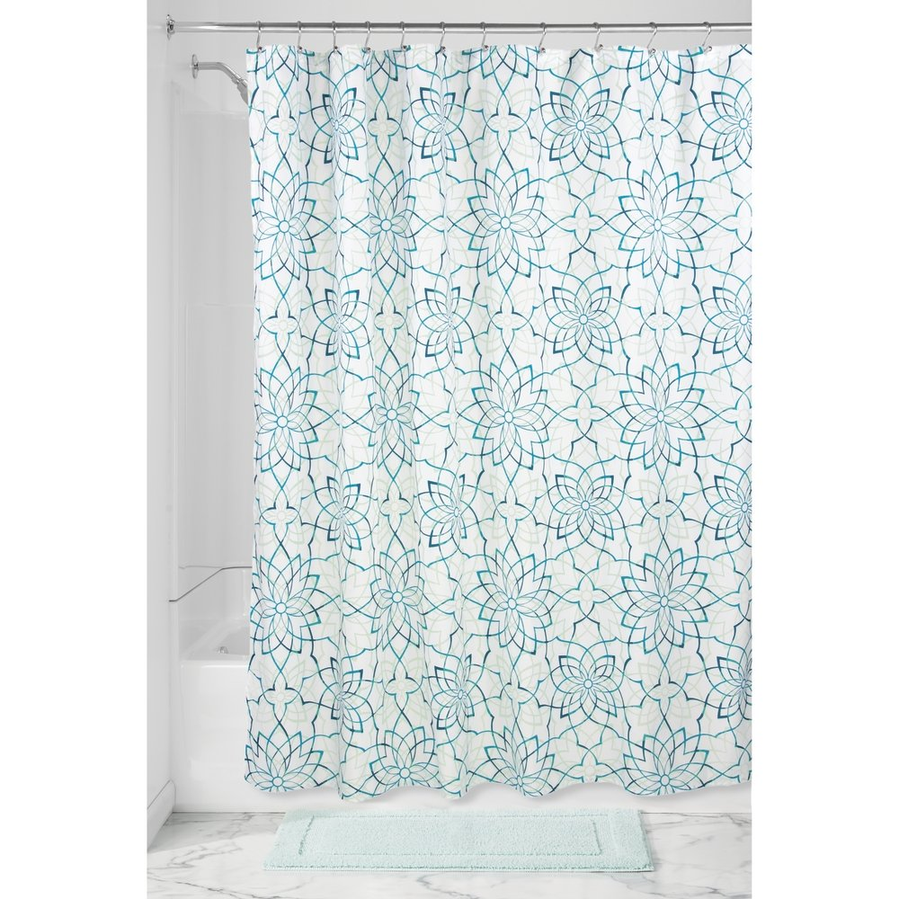 InterDesign Kenzie Floral Shower Curtain, Bathroom Curtains with Floral Pattern, Made of Polyester, Turquoise 59821