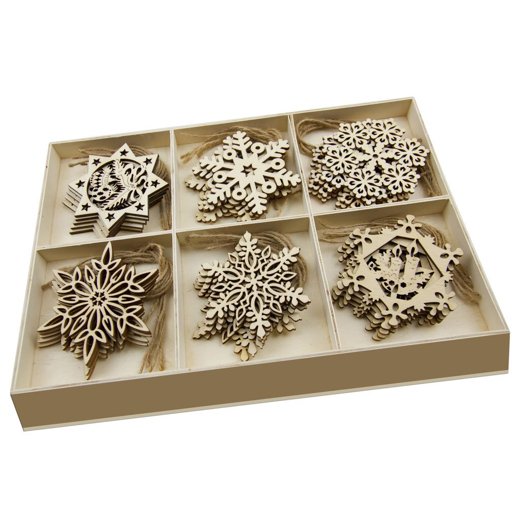 30 Pcs Wooden Ornaments Hanging Embellishments Crafts, Hanging Ornament Set for Wedding Valentine's Day Gift DIY Christmas Tree Xmas Decorations with Wooden Storage Box and Jute Twines (Each of 5) JHYQ-CA