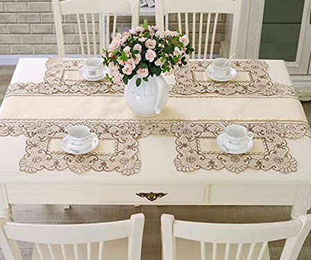 12 Pcs Embroidered Rose Lace Doilies Placemat Mat Wedding Party Banquet Decor